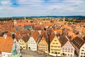 ROTHENBURG, GERMANY - JUNE 18, 2016: Panoramic aerial view of Rothenburg in a beautiful summer day, Germany
