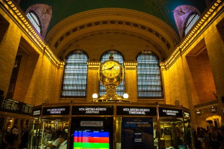 NEW YORK CITY, USA - MARCH 15, 2020: Classic vintage clock in Main hall of Grand Central Station Terminal in Manhattan in New York City, USA
