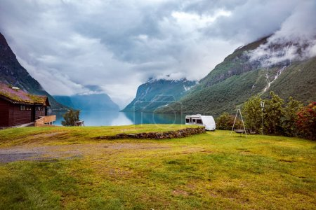 Photo for Family vacation travel RV, holiday trip in motorhome, Caravan car Vacation. Beautiful Nature Norway natural landscape. - Royalty Free Image