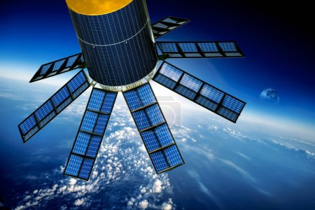 Photo pour Satellite spatial en orbite autour de la terre. Éléments de cette image fournie par la Nasa. - image libre de droit