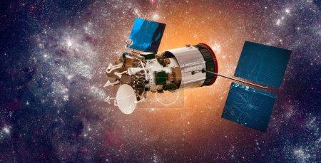 Photo pour Satellite spatial en orbite autour de la terre sur un soleil étoile de fond. Éléments de cette image fournie par la Nasa. - image libre de droit