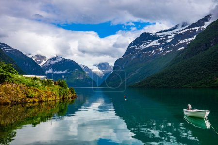 Photo for Beautiful Nature Norway natural landscape. lovatnet lake. - Royalty Free Image
