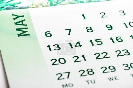 Photo pour Vue du haut Mai page du calendrier. Ton vert - image libre de droit