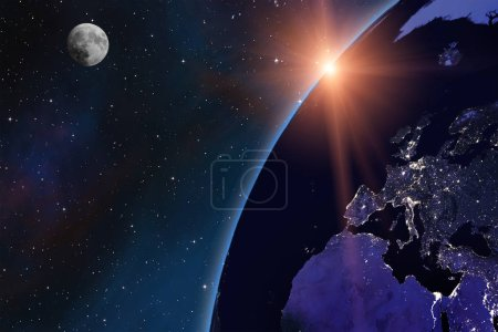 Photo for Planet Earth and Moon from space at night. European cities lights. Sunset scene sun beams. Some elements of this image furnished by NASA - Royalty Free Image