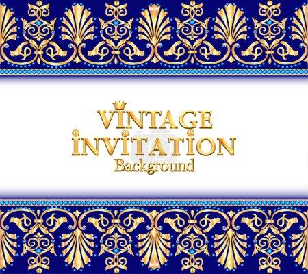 Illustration for Illustration vintage background, elegant antiques, Victorian gold, floral ornament, baroque frame, beautiful invitation. - Royalty Free Image
