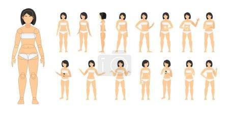 Photo pour Constructeur de personnages féminins avec différentes vues. - image libre de droit