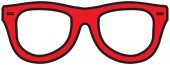 Stylized classic frame for glasses red Vector illustration