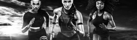 Black and white photo. A strong athletic, women sprinter, running outdoor wearing in the sportswear, fitness and sport motivation. Runner concept.