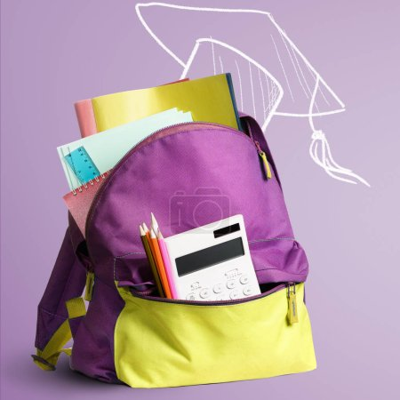 Photo for Back to school shopping backpack. Accessories in student bag against chalkboard - Royalty Free Image