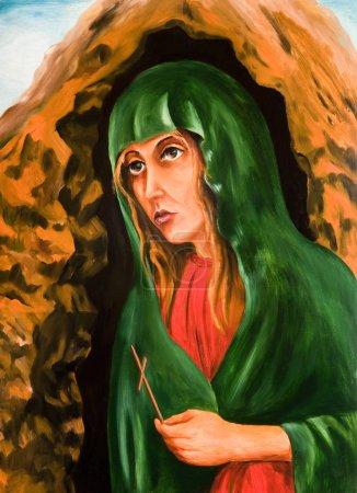 Photo pour Peinture à l'huile. Pleurer la vierge Marie - image libre de droit