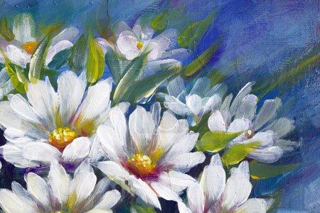 Photo pour Prairie sauvage fleurs marguerites bouqueton sombre backround. Peinture à l'huile artisanale . - image libre de droit