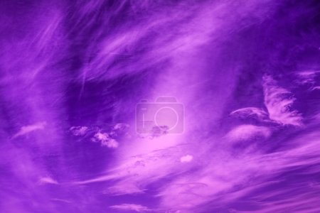 Photo for Violet sky with clouds, neon dramatic background - Royalty Free Image