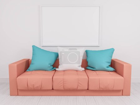 Photo for Modern sofa in an interior room view. 3d rendered image. Design mockup - Royalty Free Image