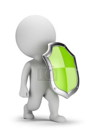Photo pour 3D petite personne avec un bouclier. image 3D. Fond blanc. - image libre de droit