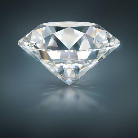 Photo pour Un beau diamant étincelant sur une surface réfléchissante sombre. Image 3D. Fond bleu foncé . - image libre de droit