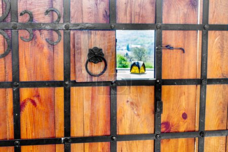 Photo for Image of a wooden gate wrought with iron old castle - Royalty Free Image