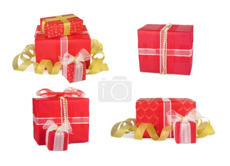 Holiday set gift boxes decorated with bows and ribbons isolated on white background