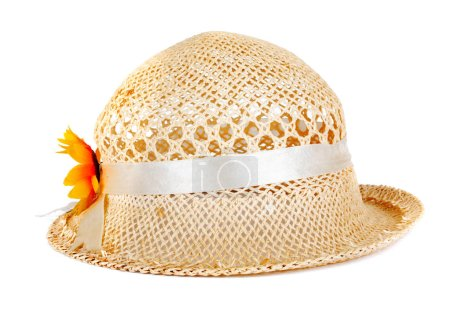 Pretty straw hat with flower on white isolated background