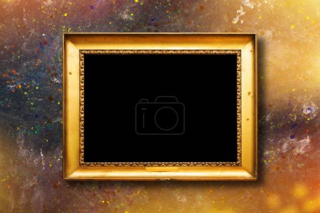 Photo for Old vintage gold ornate frame for picture on grunge stone wall - Royalty Free Image