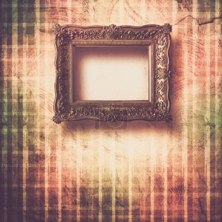 Photo for Old room, grunge interior with frames in style baroque - Royalty Free Image
