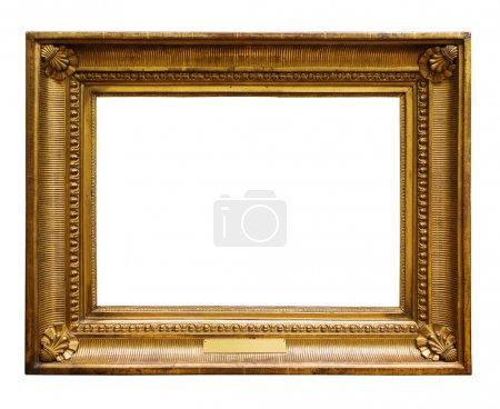 Photo pour Cadre décoré en bois doré pour la conception sur fond blanc isolé - image libre de droit