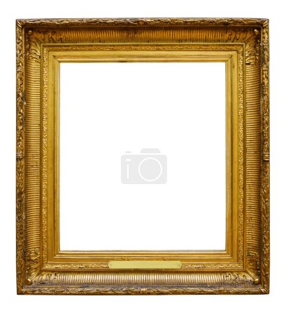 Photo for Picture gold wooden ornate frame for design on white isolated background - Royalty Free Image
