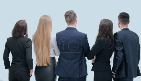 Photo pour Concept de perspective. équipe d'affaires regardant vers l'avenir - image libre de droit
