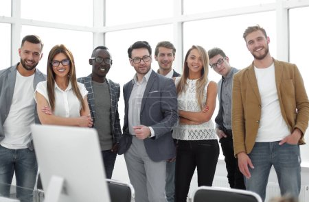 Photo for Group of successful business people standing in the office.photo with copy space - Royalty Free Image