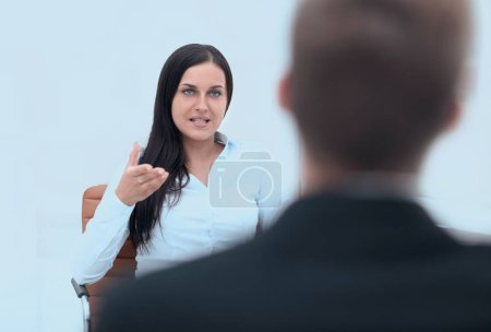 Severe female manager criticize her team member