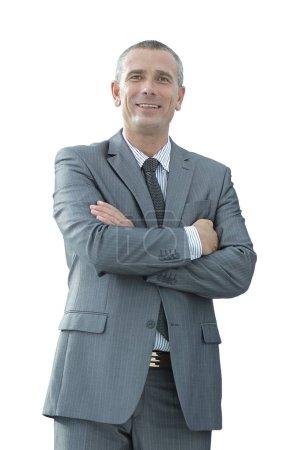 retrato de primer plano de empresario confiado en camisa y corbata