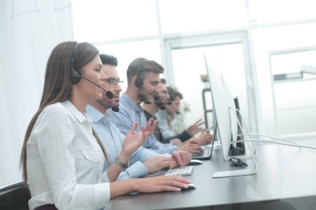 call center employee in the workplace