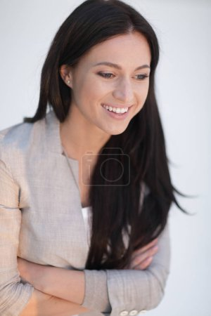 Photo for Close-up face of a successful young woman. .photo has a blank space for text - Royalty Free Image