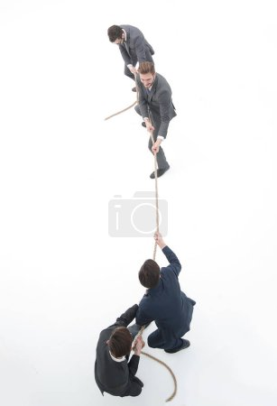 top view.the tug of war between business people.