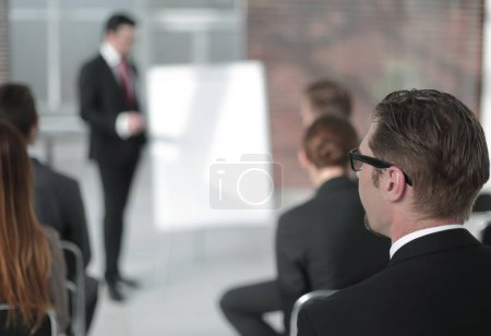 businessman holds a presentation of a new project