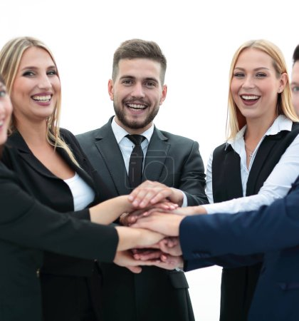 Photo for Closeup.friendly business team with hands clasped together. - Royalty Free Image