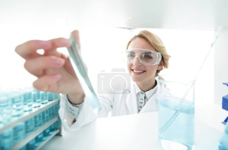 Photo for Closeup.portrait of doctor biologist in the lab.photo with copy space - Royalty Free Image
