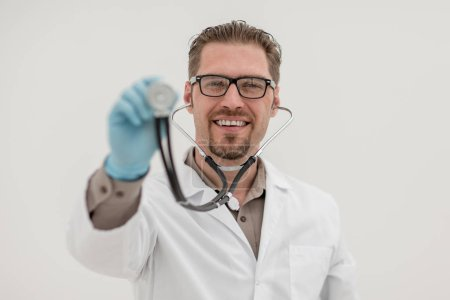 medical specialist, showing it with a stethoscope