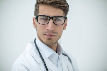 portrait of doctor-diagnostician on a light background