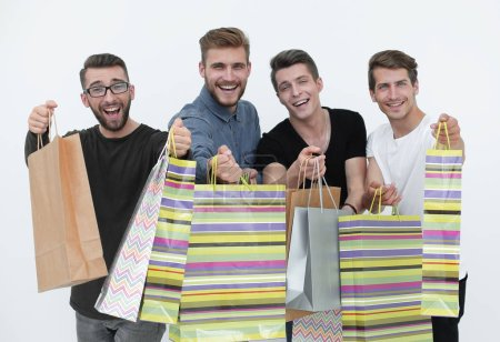Photo pour Heureux groupe de commerçants tenant des sacs - isolé sur blanc - image libre de droit