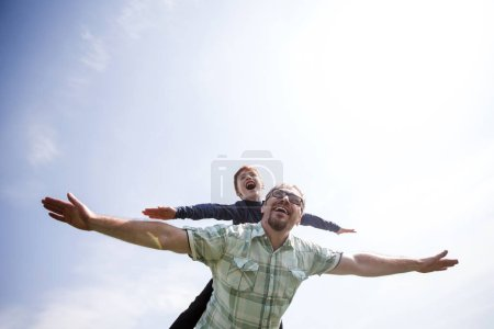 happy son and father