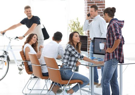 Photo for Group of young employees in a modern office.photo with copy space - Royalty Free Image