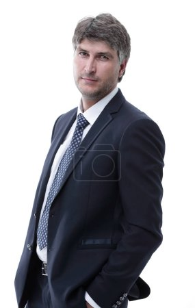 Photo for Side view. portrait. Confident businessman looking at camera. - Royalty Free Image