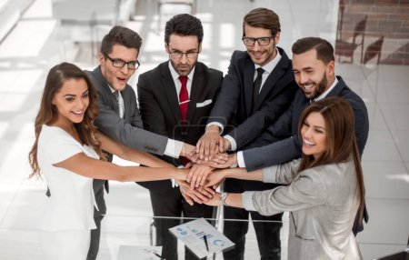 group of business people starting a new commercial project