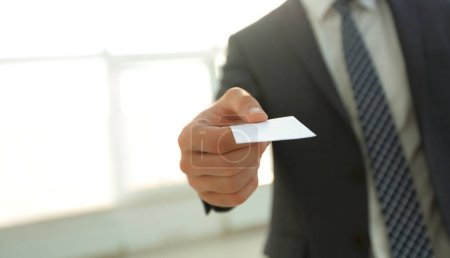 Photo for Two successful business executive exchanging business card - Royalty Free Image