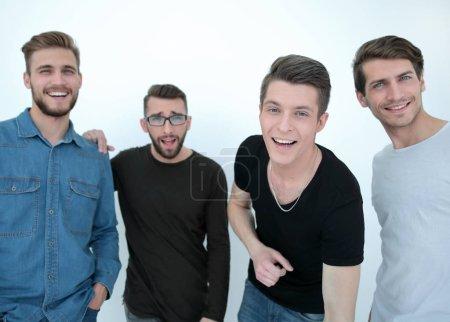 Photo pour Close up.a groupe de gars heureux .isolated sur blanc - image libre de droit