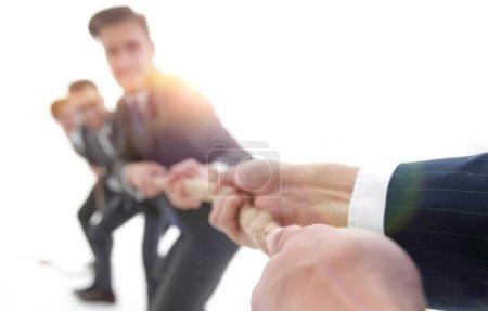 teambuilding.the tug of war between business teams.