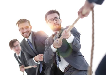 Photo for Image is blurred.a tug of war between confident business teams. photo with copy space - Royalty Free Image