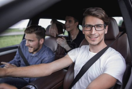 transportation, people and vehicle concept - close up of businessman driving car