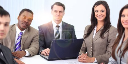 businessman and business team sitting at Desk