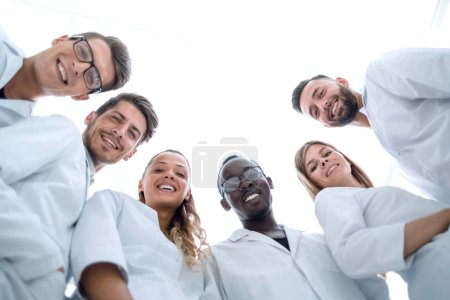 group of doctors working in the hospital laboratory